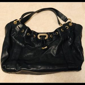 Michael Kors Black With Gold Metal Shoulder Bag
